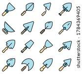 Trowel Icons Set. Outline Set...