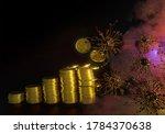virus in fog is destroying gold ... | Shutterstock . vector #1784370638