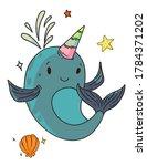 unicorn narwhal fantasy... | Shutterstock .eps vector #1784371202