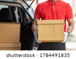 Delivery Man Wear Red T Shirt...