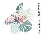 Pink Flamingo Bird  Tropical...