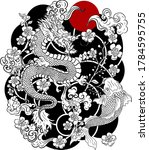 Chinese Dragon With Peach...