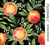 watercolor pattern with oranges ... | Shutterstock . vector #1784603762
