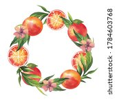watercolor frame with oranges... | Shutterstock . vector #1784603768