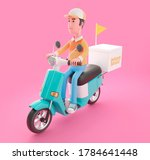 delivery man drives scooter... | Shutterstock . vector #1784641448