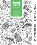 food frame sketch. vector... | Shutterstock .eps vector #1784667872