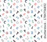 hand drawn seamless pattern abc ... | Shutterstock .eps vector #1784756852