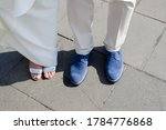 Couple Legs At Wedding Ceremony....