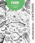 food frame sketch. vector... | Shutterstock .eps vector #1784790995