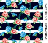 roses pattern with decorative... | Shutterstock .eps vector #1784817398