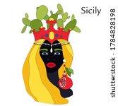 Sicilian Planter Head. Pottery...
