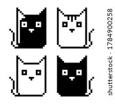 cat icon pattern. pixel picture ...
