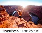 Tourist Woman On Horseshoe Bend ...