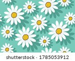 Daisy Seamless Pattern Vector...