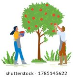 man and woman in apron and... | Shutterstock .eps vector #1785145622