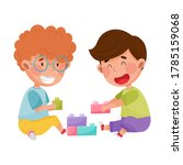 friendly kids playing together... | Shutterstock .eps vector #1785159068