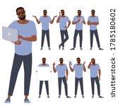 set of flat design young black... | Shutterstock .eps vector #1785180602