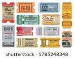 bus tickets retro coupons  city ... | Shutterstock .eps vector #1785248348