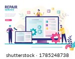 repair service landing page.... | Shutterstock .eps vector #1785248738