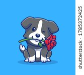 cute collie dog with red rose... | Shutterstock .eps vector #1785372425