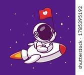 cute astronaut riding rocket...   Shutterstock .eps vector #1785395192