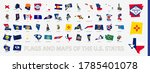 flagged maps of u.s. states ... | Shutterstock .eps vector #1785401078