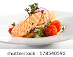 warm salad with steamed salmon | Shutterstock . vector #178540592