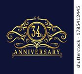 34 years anniversary logo ... | Shutterstock .eps vector #1785412445