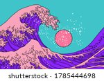 great wave in vaporwave pop art ... | Shutterstock .eps vector #1785444698