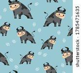 seamless cartoon bulls pattern. ... | Shutterstock .eps vector #1785471635