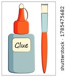 vector color glue and brush...