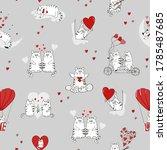cute cats in love pattern.... | Shutterstock .eps vector #1785487685