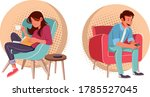 cartoon couple reading and... | Shutterstock .eps vector #1785527045
