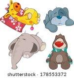 set of soft toys cartoon