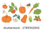 Vector Set Of Cute Autumn...