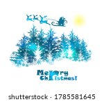 santa claus is flying over the... | Shutterstock .eps vector #1785581645