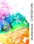 white butterflies on a... | Shutterstock .eps vector #1785587198