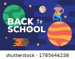 little student boy in planet... | Shutterstock .eps vector #1785646238
