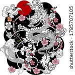 chinese dragon with peach... | Shutterstock .eps vector #1785707105
