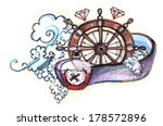 pencil drawing with rum  wheel... | Shutterstock . vector #178572896