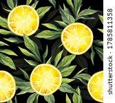 watercolor pattern with lemon... | Shutterstock . vector #1785811358