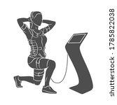 ems training. girl doing squats ... | Shutterstock .eps vector #1785822038