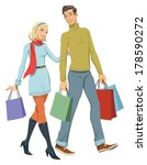 happy couple with shopping | Shutterstock .eps vector #178590272
