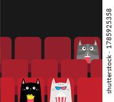 cat set in movie theater eating ... | Shutterstock .eps vector #1785925358