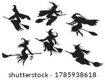 set of silhouettes witches... | Shutterstock .eps vector #1785938618