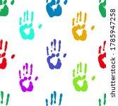 prints of human hands seamless...   Shutterstock . vector #1785947258