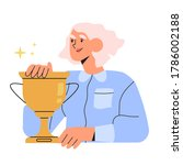 happy woman holds gold champion ... | Shutterstock .eps vector #1786002188