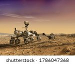 Mars explore mission. The Perseverance rover deploys its equipment against the backdrop of a true Martian landscape. 3D rendering. Colony made on Mars concept. Elements of this image furnished by NASA
