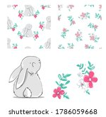 set hand drawn cute bunny and... | Shutterstock .eps vector #1786059668