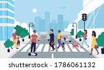 people crossing road vector... | Shutterstock .eps vector #1786061132
